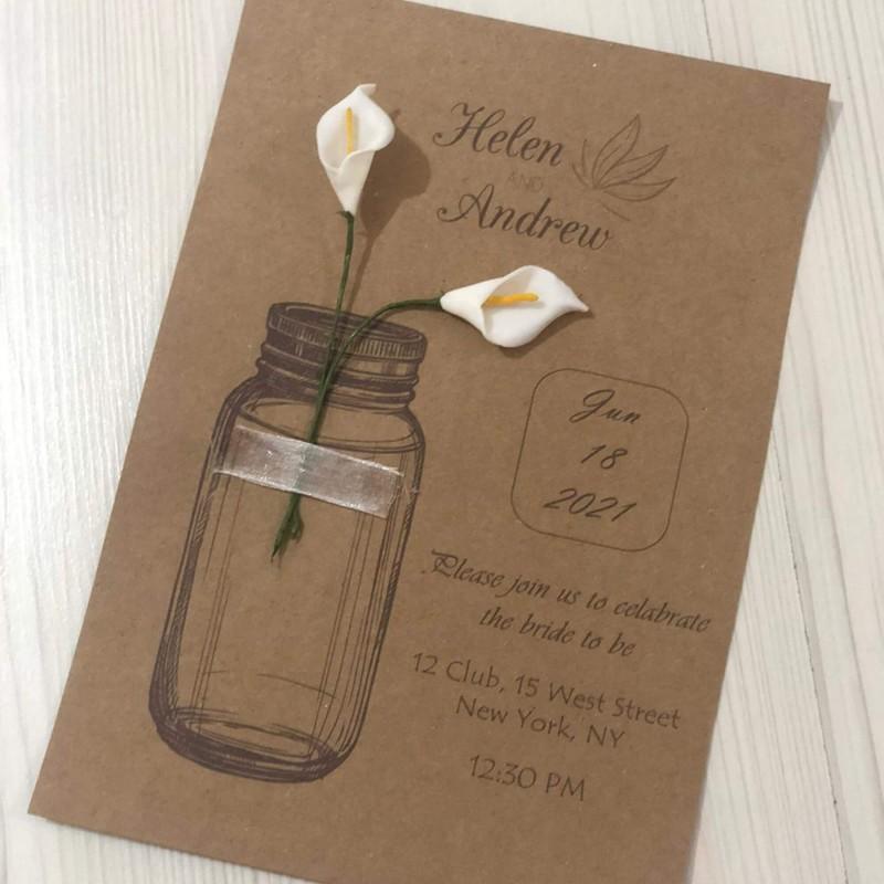 White Floral Kraft Invitation Card