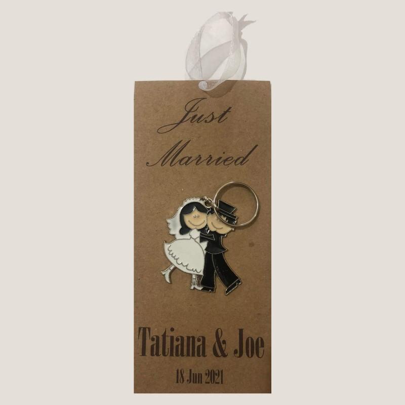 Kraft Bride and Groom Keychain Invitation