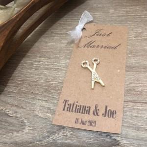 Kraft Crystal Stone Scissors Embellished Invitatio...