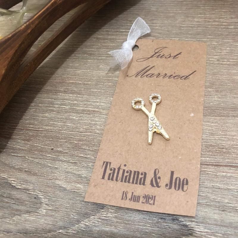 Kraft Crystal Stone Scissors Embellished Invitation